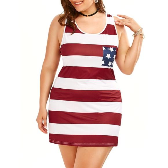 Plus Size Sleeveless Patriotic American Flag Dress Boutique